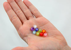 8mm Small Faceted Acrylic Beads - Tiny Colorful Double Inner Bead Round Resin Beads - Mixed Colors - 150 pc set
