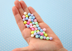 Pastel Beads - 8mm Beautiful Bright Pastel Small Round Shape Acrylic or Resin Beads - 200 pcs set