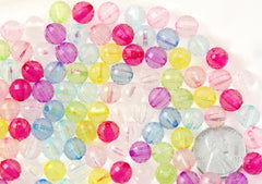 8mm Small Faceted Pastel Acrylic Round Transparent Plastic Beads - 200 pc set