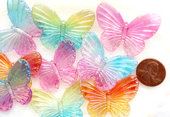 Butterfly Charms - 30mm Big AB Iridescent Butterfly Resin or Acrylic Plastic Charms or Pendants - 12 pc set