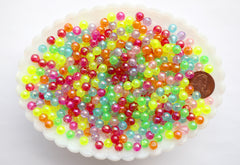 Tiny Plastic Beads - 6mm Tiny Super Bright Round Neon Translucent AB Plastic or Acrylic Beads - 500 pc set