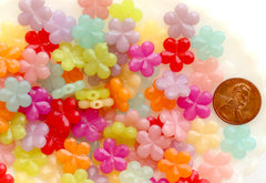 Flower Beads - 14mm Faceted Flower Jelly Color Plastic Acrylic or Resin Beads – 100 pc set