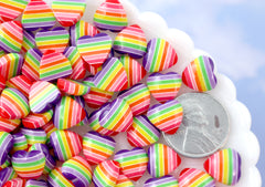 Rainbow Hearts - 10mm Rainbow Striped Hearts Purple Rainbow Acrylic or Resin Flatback Cabochons - 30 pc set