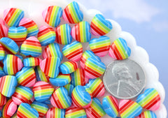 Rainbow Hearts - 10mm Rainbow Striped Hearts Blue Rainbow Acrylic or Resin Flatback Cabochons - 30 pc set