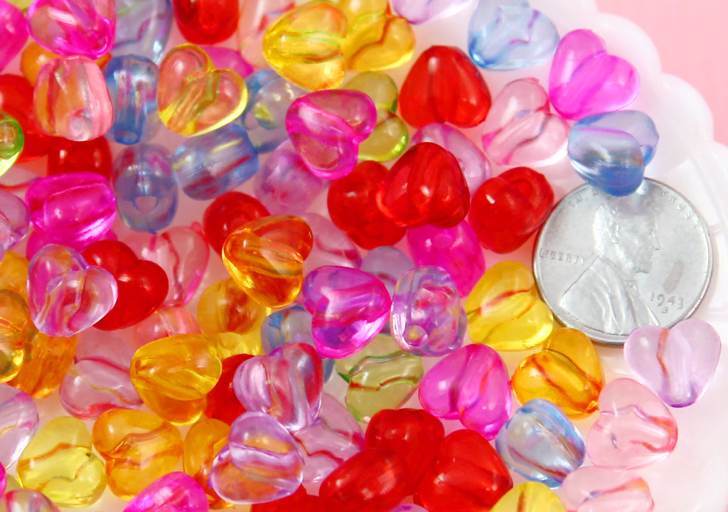 Heart Beads - 8mm Tiny Translucent Heart Beads Resin or Acrylic Beads, mixed color, small size beads - 150 pc set