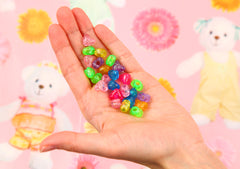 Colorful Plastic Beads - 9mm Vibrant Glitter Heart Bead Resin or Acrylic Beads, mixed color, small size beads - 150 pc set