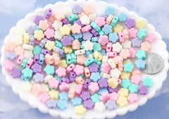 Pastel Flower Beads - 9mm Tiny Plastic Pastel Flower Shaped Beads - 200 pcs set