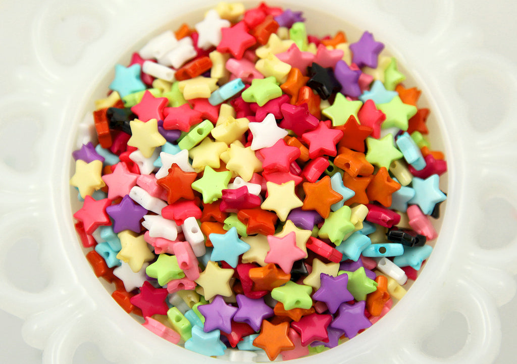 10mm Small Colorful Acrylic Or Plastic Star Beads 500