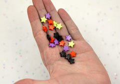 10mm Halloween Mix Small Colorful Acrylic or Plastic Star Beads - Spooky Colors - Orange, Black, Green and Purple - 500 pcs set