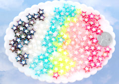 Neon Star Beads - 9mm Amazing Tiny AB Neon Double Star Resin or Acrylic Beads - 60 pc set
