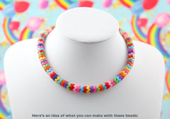 Zigzag Beads - 9mm Small Zigzag Stacking Beads Bright Rainbow Colors Acrylic or Resin Beads - 200 pc set