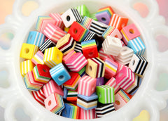 9mm Small Striped Cube Resin Beads, mixed color - 80 pc set