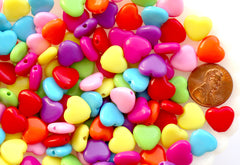Heart Plastic Beads - 11mm Colorful Bright Hearts Acrylic or Resin Beads - 150 pc set