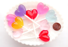 Heart Lollipop Charms - 70mm Big Translucent Heart Shaped Fake Candy Acrylic or Resin Charms - 6 pc set