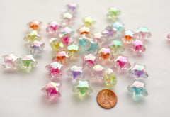 Star Beads - 20mm AB Glitter Bright Color Shooting Star Resin or Acrylic Beads - 25 pc set