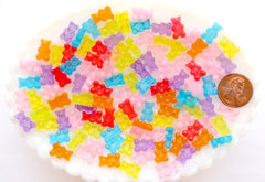 Mini Fake Gummy Bears - 12mm Super Tiny Bright Color Fake Gummy Bears Resin Flatback Cabochons - 32 pc set