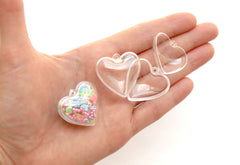 Mini Fillable Shaker Heart Charm - 30mm Tiny Clear Plastic Openable Blank Shaker Heart Charm or Pendant, Fillable Hollow Blanks - 10 pc set