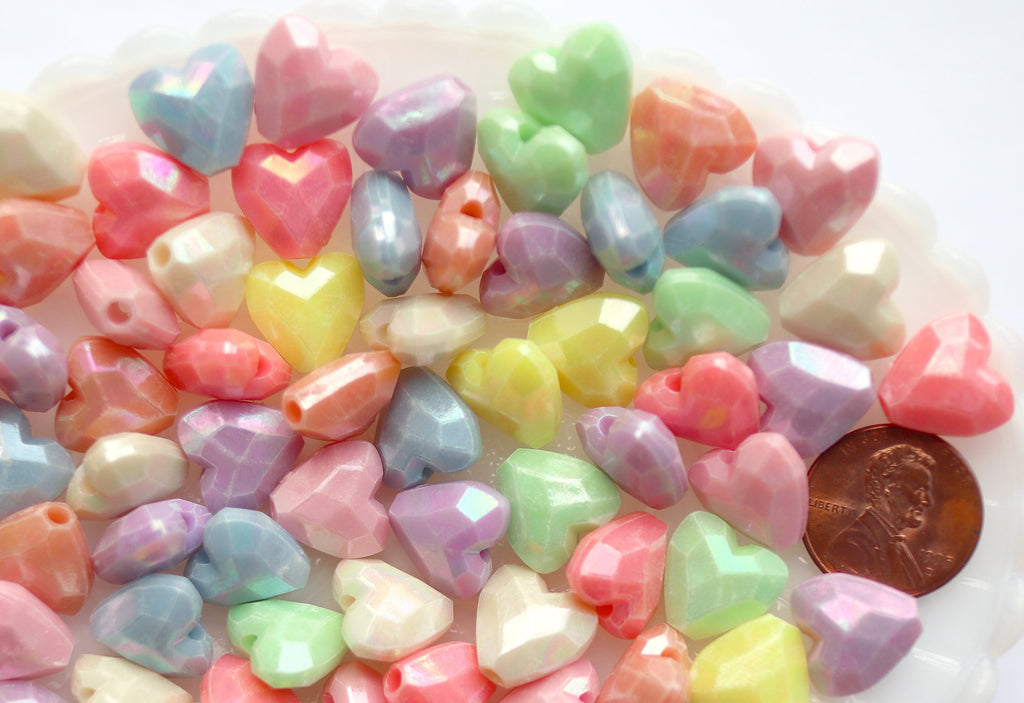 Pastel Heart Beads - 13mm Faceted Pastel Heart Beautiful Bright Hearts Acrylic or Resin Beads - 100 pcs set