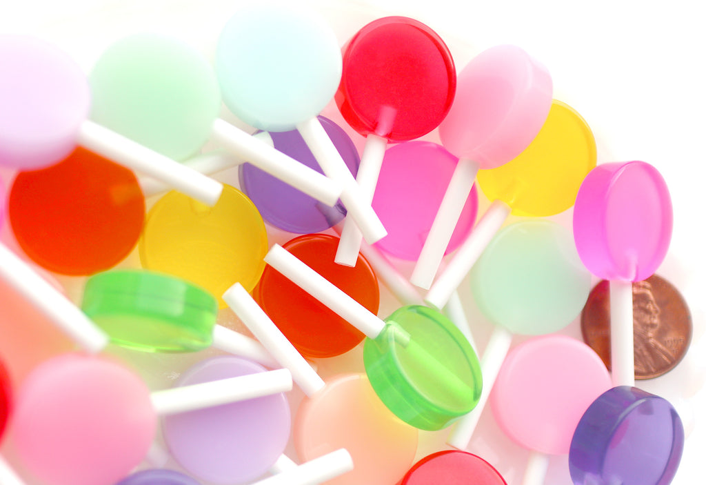 Fake Lollipops - 19mm Fake Lollipop Flat Back Resin Cabochons - 11 pc set