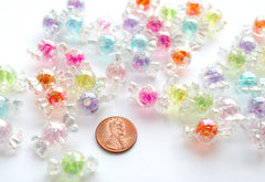 Candy Beads - 22mm AB Glitter Bright Color Candy Shape Acrylic or Resin Beads - 30 pc set