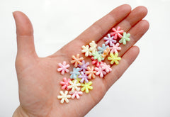 Flower Beads - 13mm AB Pastel 6-Petal Flower Beautiful Bright Iridescent Color Plastic Acrylic or Resin Beads – 100 pc set