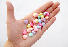 Pastel Heart Beads - 11mm AB Beautiful Bright Pastel Iridescent Puffy Heart Acrylic or Resin Beads - 100 pcs set