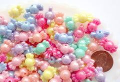 Candy Beads - 9mm Small AB Candy Shape Iridescent Beautiful Bright Pastel Acrylic or Resin Beads - 100 pc set