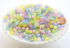 Pastel Letter Beads - 6mm Little Pastel Matte Candy Round Alphabet Acrylic or Resin Beads - 400 pc set