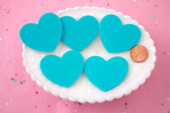 45mm Blue Solid Color Heart Cabochons - 4 pc set