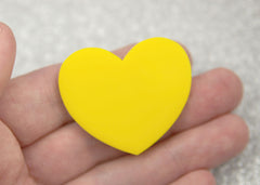 45mm Yellow Solid Color Heart Cabochons - 4 pc set