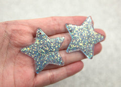 40mm Sky Blue Glitter Stars Resin Charms - 4 pc set
