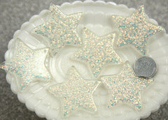 40mm White Glitter Stars Resin Charms - 4 pc set