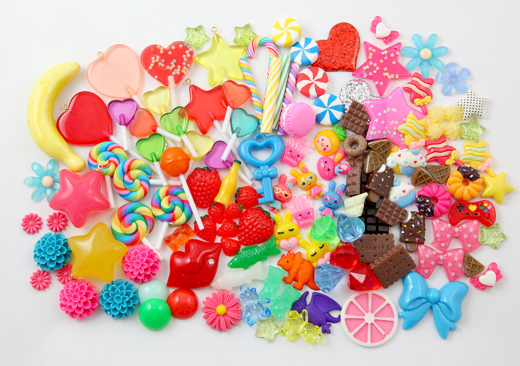 Super Kawaii Charms for Slime - Fake Candy & Characters - Cute Resin Cabochons for crafts! 100+ pcs