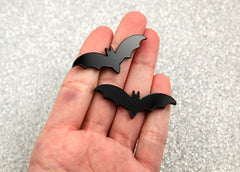 45mm Black Bats Acrylic or Resin Cabochons - 6 pc set