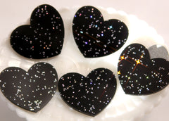 45mm Deep Space Black Glitter Heart Resin or Acrylic Cabochons - 4 pc set
