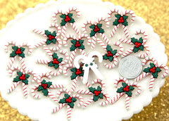 25mm Lovely Christmas Candy Cane Resin Cabochons – 6 pc set