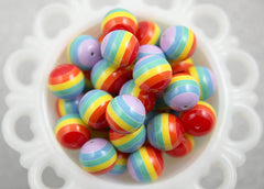 18mm Classic Rainbow Stripe Resin Beads – 10 pc set