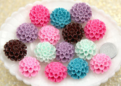 25mm Cute Dahlia or Peony Flower Flatback Resin Cabochons - 6 pc set