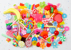 Colorful Candy Cabochon Mix - Bright Colors, Sweets and Rainbows Resin Flatback Cabochons and Charms - For Jewelry, Crafts, etc. - 100 pcs