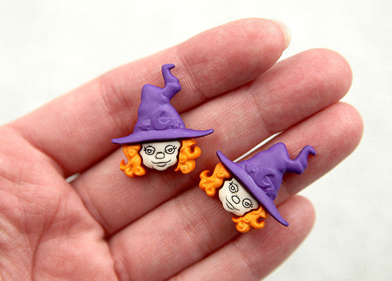 26mm Halloween Cute Witch Resin Cabochons – 6 pc set