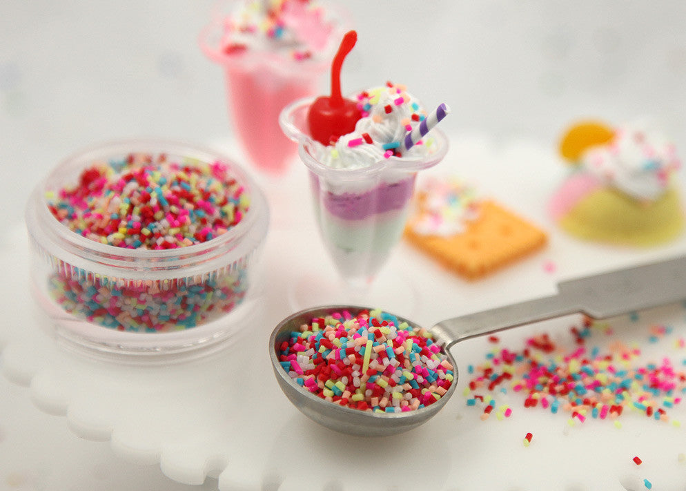 2mm Tiny Fake Sprinkles Colorful Faux Chocolate Topping Candy Flakes Polymer Clay or Fimo Cabochons - 48 g bag