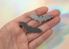 45mm Black Glitter Bats Acrylic or Resin Cabochons - 6 pc set