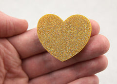 45mm Gold Glitter Heart Cabochons - 4 pc set