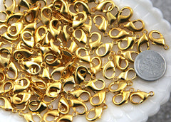 15mm Gold Plated Lobster Clasps - 10 pc set