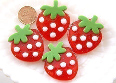 40mm Big Red Strawberry Resin Cabochons – 3 pc set