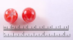 18mm Red Galaxy Cherries Glitter Acrylic or Resin Beads - 10 pc set