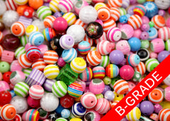 B-Grade Chunky Resin and Acrylic Gumball and Striped Bead Mix - 100 pcs