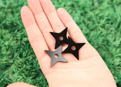 33mm Black Shuriken Ninja Star Acrylic or Resin Cabochons - 6 pc set