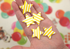 33mm Bright Yellow Striped Stars Acrylic or Resin Charms or Pendants - 6 pc set