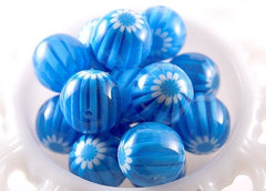 22mm Aqua Blue Blossom Resin Beads - 6 pc set